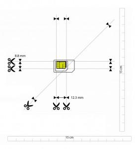 Schema con le linee di taglio per trasformare una scheda SIM